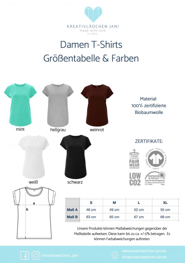 T-Shirt Damen Größe und Farbe