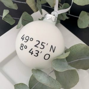 Weihnachtskugel Koordinaten personalisiert