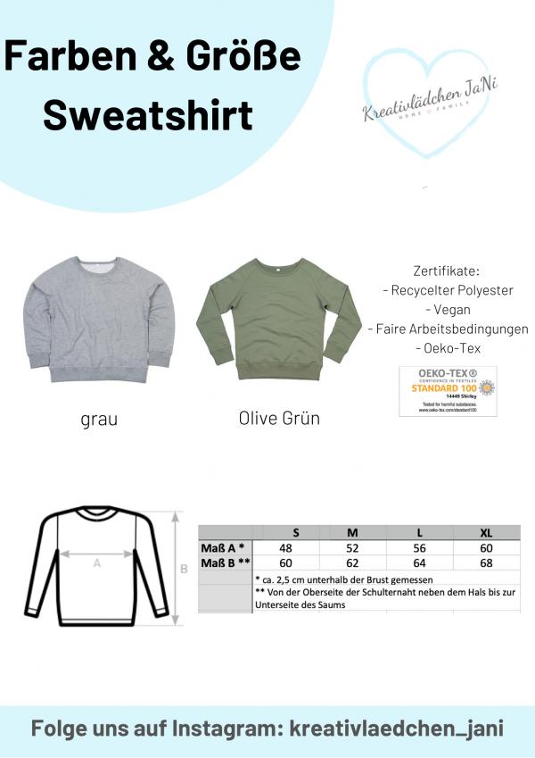 Größe und Farbe Sweatshirt