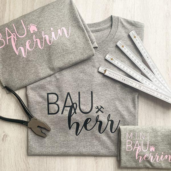 T-Shirt Set Bauherr Bauherrin Mini Bauherr