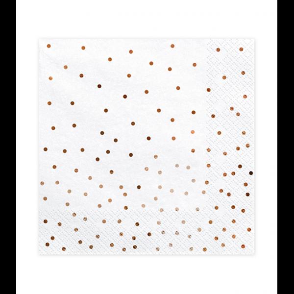Servietten - Weiß mit roségoldenen Punkten