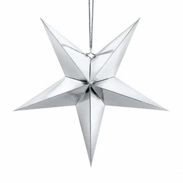 Pappstern Silber 45 cm